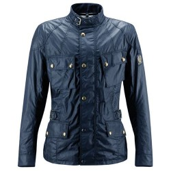 BELSTAFF CROSBY JACKE HERREN - WAXED COTTON / NAVY BLUE