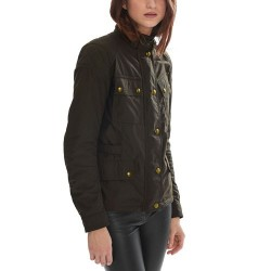 BELSTAFF PHILLIS JACKE DAMEN - WAX NYLON COTTON / Schwarz / Braun