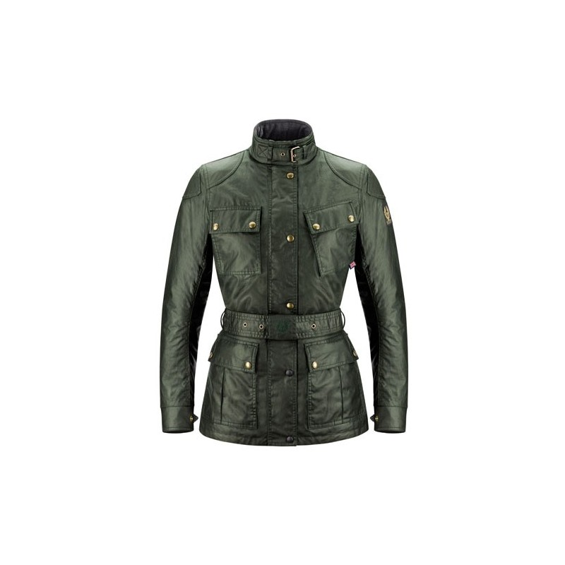 BELSTAFF CL. TOURIST TROPHY VESTE DAMES - WAXED COTTON / BRITISH RACING GREEN