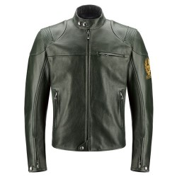 BELSTAFF COOPER VESTE HOMMES - LEATHER / BRITISH RACING GREEN