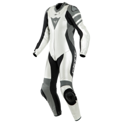 DAINESE KILLALANE 1 PC. PERF. LADY LEATHER SUIT  PEARL-WEISS/CHARCOAL-GRAY/SCHWARZ